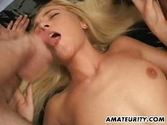Blonde amateur girlfriend home gangbang with facials tubes