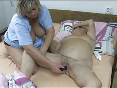 Nurse gives granny lesbian pleasure with toy tubes
