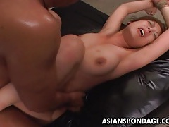 Tied up asian babe gets fucked long and hard tubes