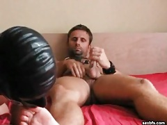 Masked sub sits on his cock for bareback anal tubes