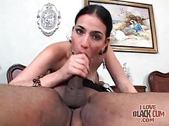 Black cock blown and cumming on the table tubes