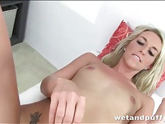 Blonde fucks butt and pussy with dildo tubes