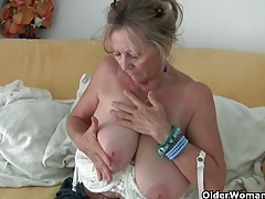 Big boobed granny needs to get off in pantyhose tubes
