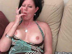Older mom with big tits and hairy pussy gets finger fucked tubes