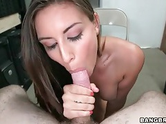 Hot blowjob and stroking from brunette chick tubes