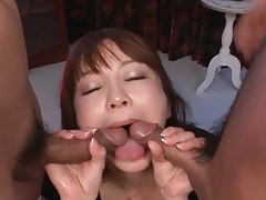 Squirting japanese girl fucked in threesome tubes