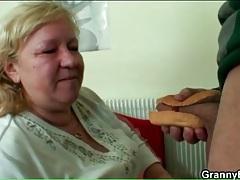Fat grandma sucks ketchup off his cock tubes