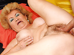 Hairy grandma getting pussy filled tubes