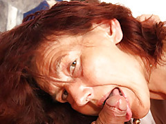 Mature redhead rides young dick tubes