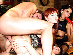 Foursome has a redhead in a dp tubes