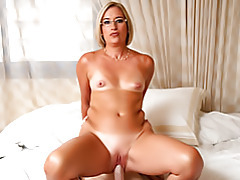 She strips and sits on dick tubes