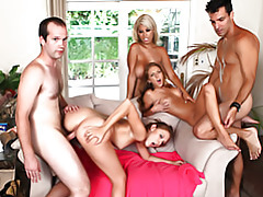 Three pornstars and two amateur guys tubes