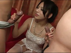 Delicate white lace on japanese cocksucker tubes