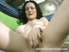 Cutie with big fake tits masturbates solo tubes