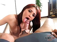 Latina strips and sucks her black lover tubes