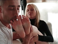 Black turtleneck on beauty giving a footjob tubes