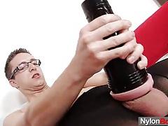 Solo gay rick cums on his nylon pantyhose tubes