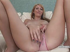 Blonde college girl addison riley plays with her pussy tubes