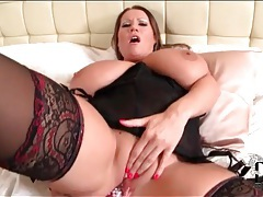 Bbw has solo anal dildo sex in lingerie tubes