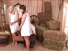 Pigtailed lesbians in the barn suck titties tubes