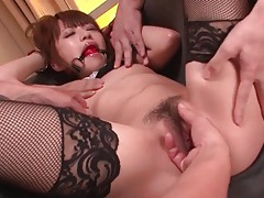 Gagged japanese girl groped and toy fucked tubes