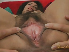 Hairy bush and red lipstick looks sexy on liz tubes