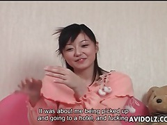 Japanese girl in sweet sweater groped lustily tubes