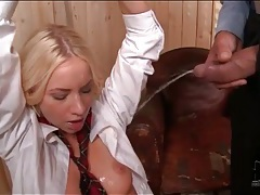 Pissing all over the bound schoolgirl tubes