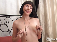 Nasty coral pleasing her pussy with toys tubes