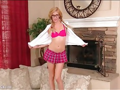 Schoolgirl is smoking hot in glasses tubes