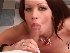 Busty chick with tattoos sucks hard cock tubes