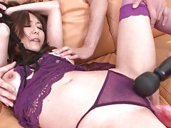 Japanese slut with bound hands sucks dick tubes