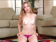 Teen teases in sexy purple satin panties tubes