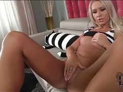 Blonde gives an arousing pov footjob tubes