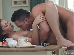 Erotic kitchen table fuck with a brunette tubes