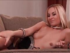 Glamorous young blonde girl models panties tubes