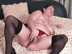 Bbw in lingerie masturbates her cunt tubes