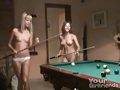 Sexy teens strip and play pool tubes