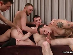 Gay foursome with licking and sucking tubes