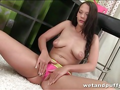 Sexy pink panties slide into her pussy lips tubes