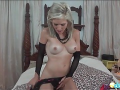 Blonde milf in sexy boots has gorgeous tits tubes