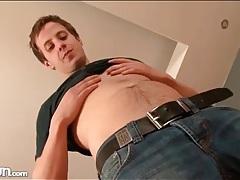 Skinny brunette in a solo gay striptease video tubes