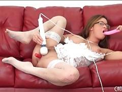 Tory lane masturbates in wedding lingerie tubes