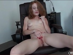 Redhead lucy fire masturbates with thick dildo tubes