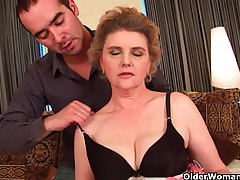Busty grandma in stockings gets her hairy pussy fucked tubes