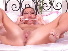 Sandra shine masturbates her asshole with toy tubes