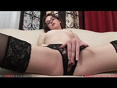 Nerdy girl in black stockings sucks a dick tubes