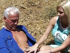 Old farmer seduced by young nasty blonde tubes