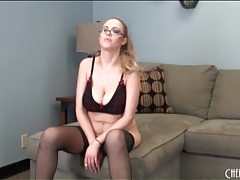 Katie kox takes out her big fake tits tubes
