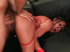 Hard doggystyle pounding of bald asian cunt tubes